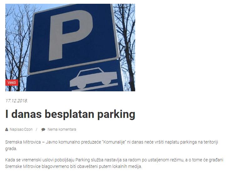 besplatan parking